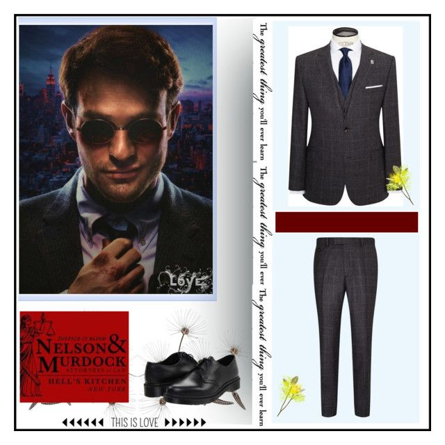 """""""Charlie Cox"""" by danicathorne ❤ liked on Polyvore featuring Murdock London, Ted Baker, Dr. Martens and Post-It"""