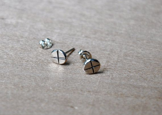 X Marks The Spot Silver Nail Studs by TheStrayArrow on Etsy, $16.00