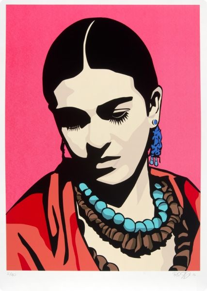 Raul Caracoza, Young Frida (Pink), 2006. Screenprint. Collection of the McNay Art Museum