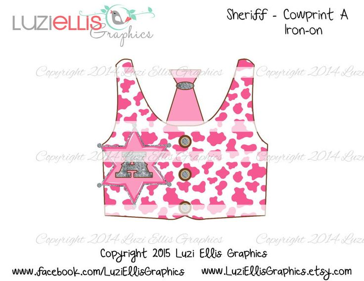 Print your own Iron on - Sheriff Cowgirl vest, pink cow print, tie, sheriff badge letter A abc, initials  - Digital Sheet - digital transfer by LuziEllisGraphics on Etsy