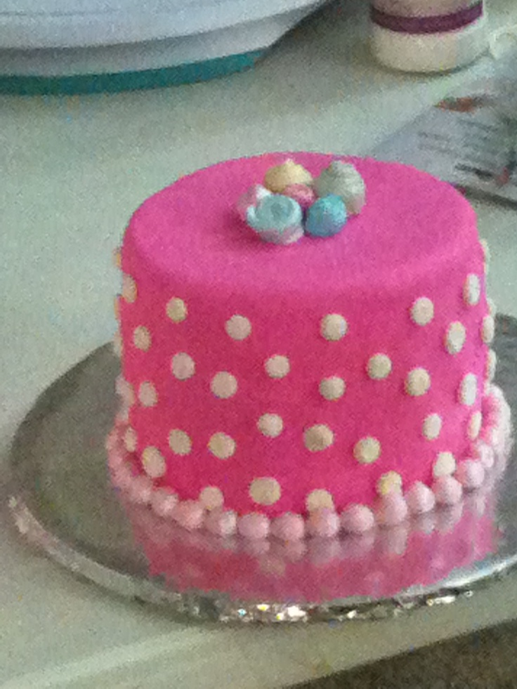 Children's Birthday Cakes - 1st Birthday Smash cake. Cake matched her pink and white poke a dot bloomers.