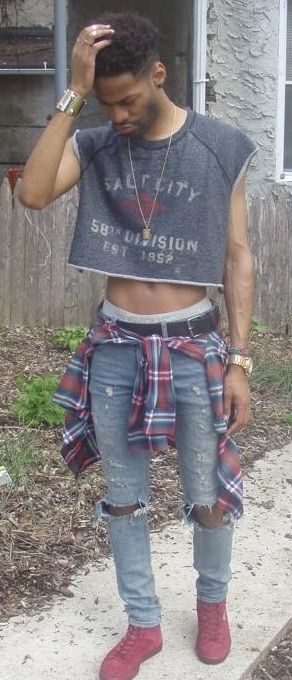 Man wearing a grungy crop top