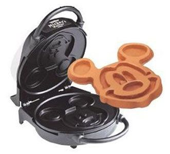 Disney Mickey Mouse Waffle Maker VillaWare Waffler Model 5555-01 1000 watts. Reg price $169  Very good used condition. Has some scratches on the outside chrome. Makes a 6 Mickey Mouse Waffle  Inside is non-stick. Chrome housing. Ready light tells when to start baking and when it is done. Cool touch handles and stands on end for storage. Nummy Kitchen Blog has a great recipe for chocolate chip Mickey Mouse waffles with pictures