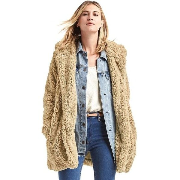 Gap Women Cozy Sherpa Hooded Coat ($168) ❤ liked on Polyvore featuring outerwear, coats, golden khaki, tall, khaki coat, tall coats, faux shearling coat, gap coats and hooded faux shearling coat