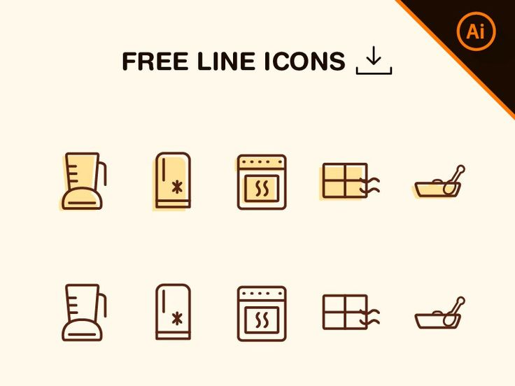 Good Free Line Kitchen Icons Icons AI Free Graphic Design Icon Kitchen Outline  Resource Vector Part 9