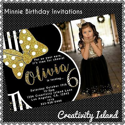 20 Minnie Mouse Black and Gold Invitations