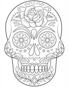 sugar skull with flowers coloring page from day of the dead category select from 20883 - Cinco De Mayo Skull Coloring Pages