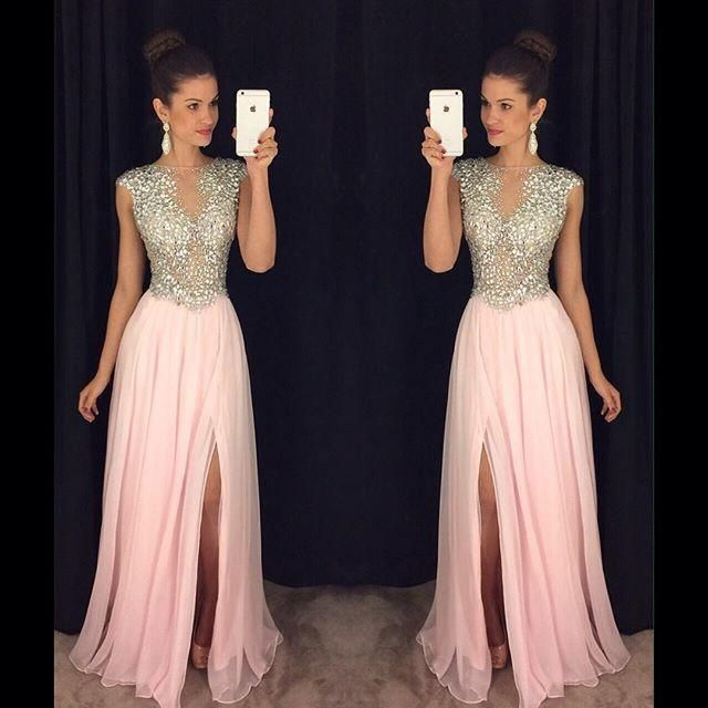 1c7708f8593 Prom Dress Stores In Atlanta Heavy Stones Pink Maxi Long Dresses Prom For  Tall Women Bateau Sheer Neck Sexy Chiffon Evening …