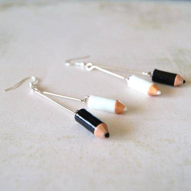 Boucles d'Oreilles  « Crayons Black & White  » - pendants d oreilles - Lfeemain - Fait Maison