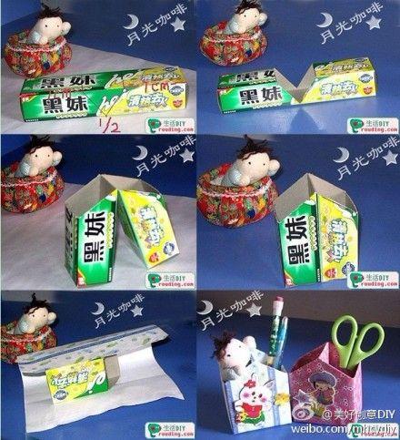 Smart and cute way to use a carton narrow boxes