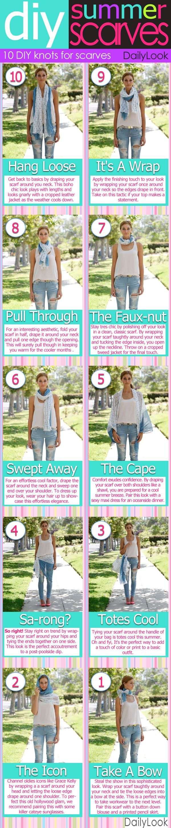 The 10 ways to wear a summer scarf on DailyLookSummer Scarves, Fashion Style, Clothing, Wear A Scarf, Summer Scarf, Scarves Summer, Dailylook Com, Wear Scarves, Scarf Knots