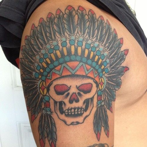 Indian Chief Skull Tattoo