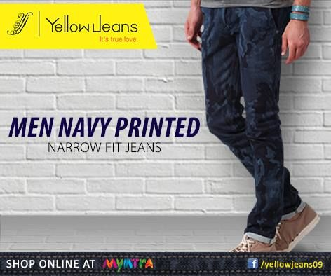 Add a dash of quirk to these precisely cut cotton with navy print jeans and let ladies swoon over your second skin!  Buy online here: http://bit.ly/yellownavy