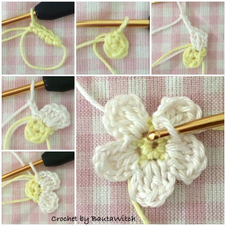 """Crochet a small flower in 5 minutes"" by BautaWitch ♡ Teresa Restegui http://www.pinterest.com/teretegui/ ♡"