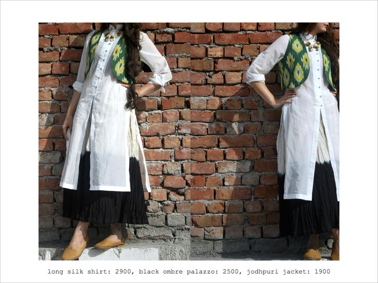 sheer long silk shirt, paired with forest green ikat jodhpuri jacket and black ombre palazzo #ikat #summerwhite #streetstyle #fusion #fashion #layers #green https://www.facebook.com/itrbykhyati