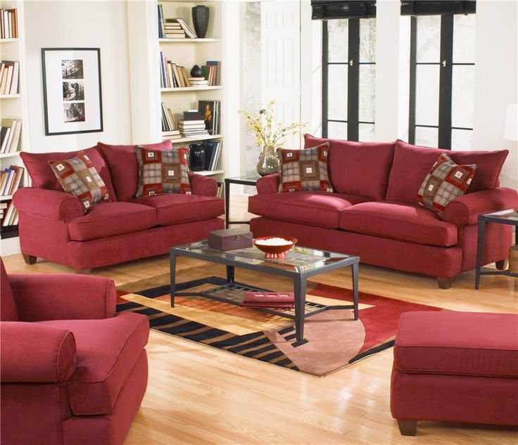 Living Room Maroon Red Sets With Unique Printed Area Rug And Black