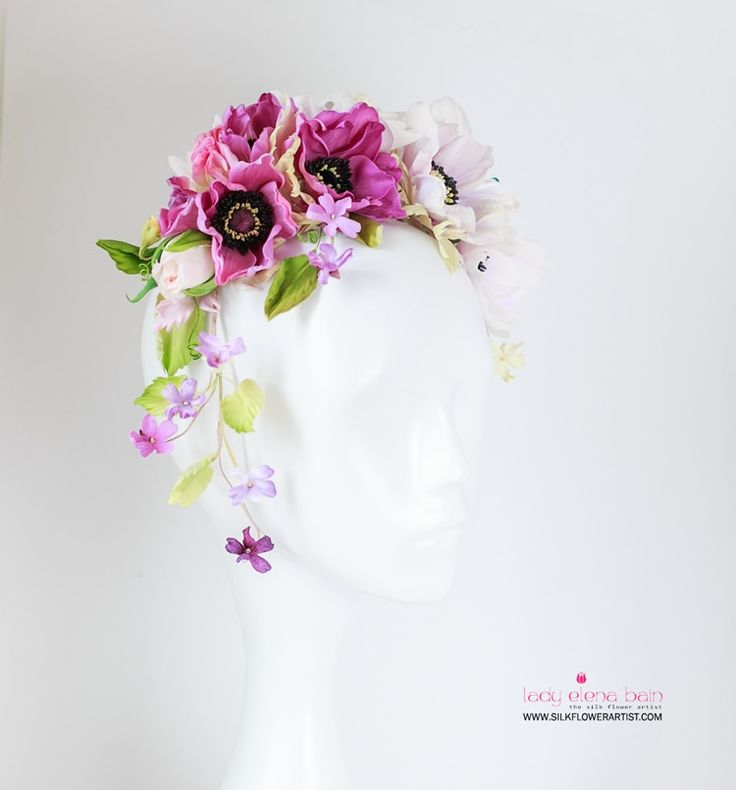 Hand crafted Silk ANEMONE CROWN