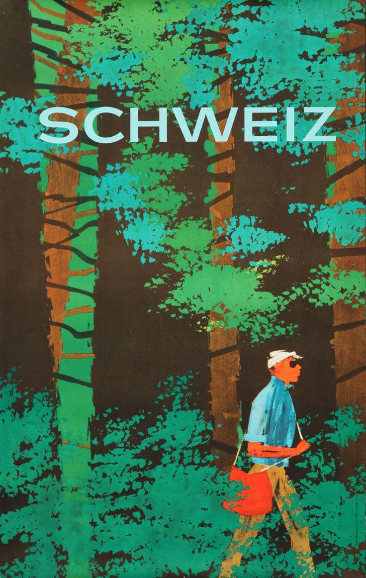 Original Vintage Poster Schweiz Swiss Travel Switzerland Nature Forest Hike 1960 in Art, Posters | eBay