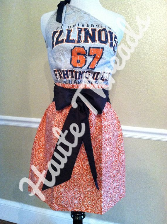 University of Illinois Fighting Illini Gameday One-Shouldered Football Dress with Navy Sash Bow - Small