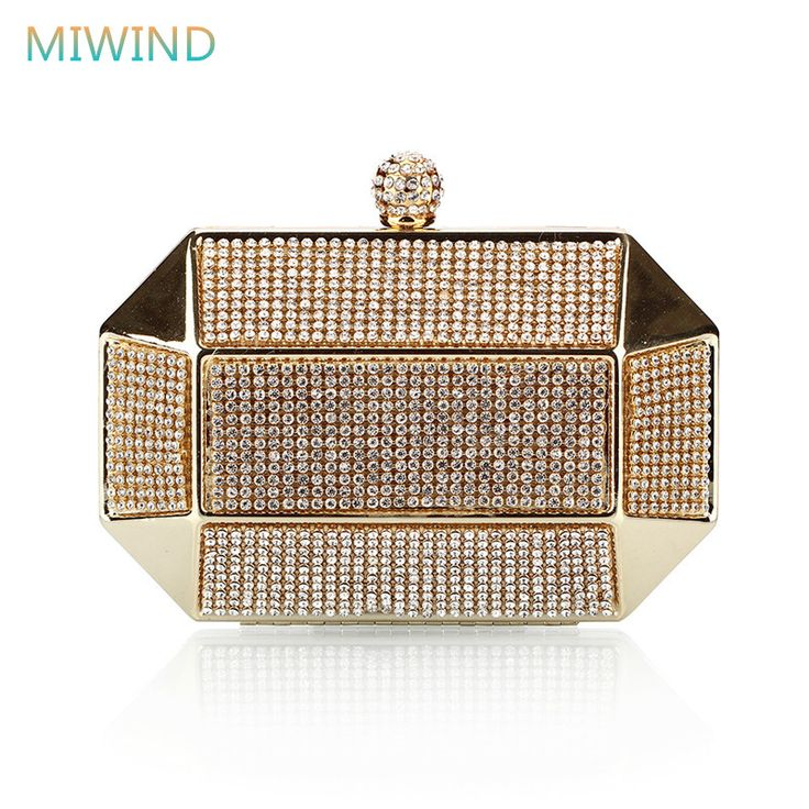 Luxury Party Clutch Bags Iron Box Full Diamond Evening Bags Solid Clutch Purse Wedding Shoulder Bags Gold/Silver/Black  #womenfashion #womanfashion #clutch #eveningbag