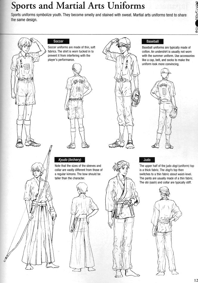 Sports and Martial Arts Uniforms reference sheet; costumes for your manga character.