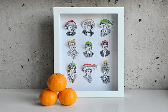 Heads of Fruit Handcut 3D art print in shadowbox by whistleandwork, $55.00