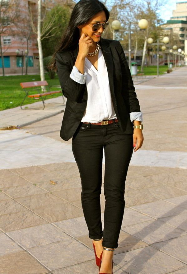 Feel chic with the pieces you already  have in your closet. Tuck  a white blouse into black skinnies and layer on a blazer. Great desk to dinner outfit!