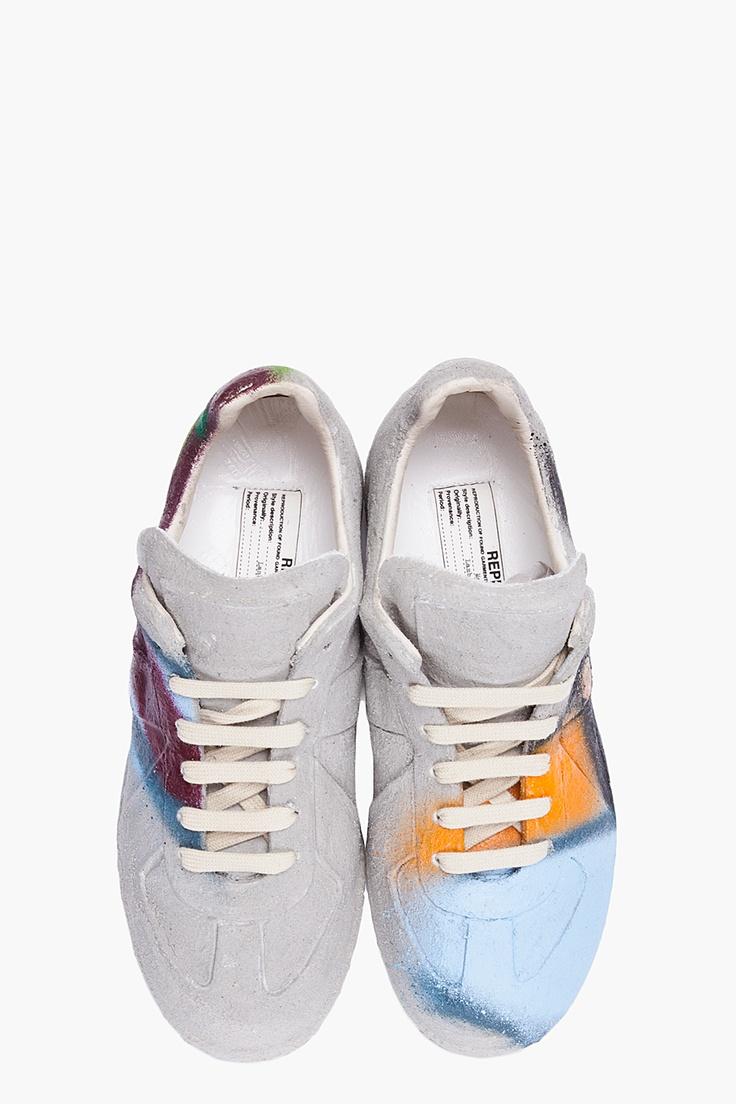 MAISON MARTIN MARGIELA Grey Handmade Graffiti Sneakers