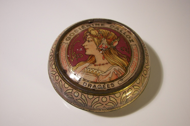 Ad Medical Cocaine Pellets Tin 1900s Art Nouveau A Mucha Blechdose |