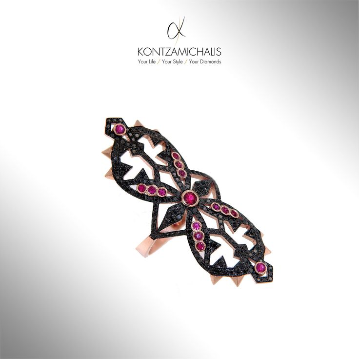 A stylish baroque piece featuring black 1.14ct diamonds and colored with beautiful rubbies. We will make one with your unique combination of stones. #KontzamichalisJewellery