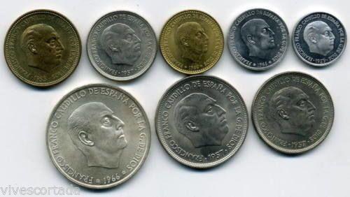 Spanje - Francisco Franco 1971 - Spaanse nationale munt - Complete serie 8 munten  Francisco FrancoOfficiële reeks Fabrica Nacional de Moneda y Timbre (F.N.M.T.)Jaar 1971Behoud = FDC (Fleur de coin.)Het heeft acht waarden 0.10 050 1. 250 5 25 50 en 100 pesetaJaar 1959/66 sterren  71 (muntslag jaar)Oplage van 10.000 serieDe munt 250 peseta is bedacht alleen voor deze bewijsDe 100 peseta is ster 70  EUR 60.00  Meer informatie