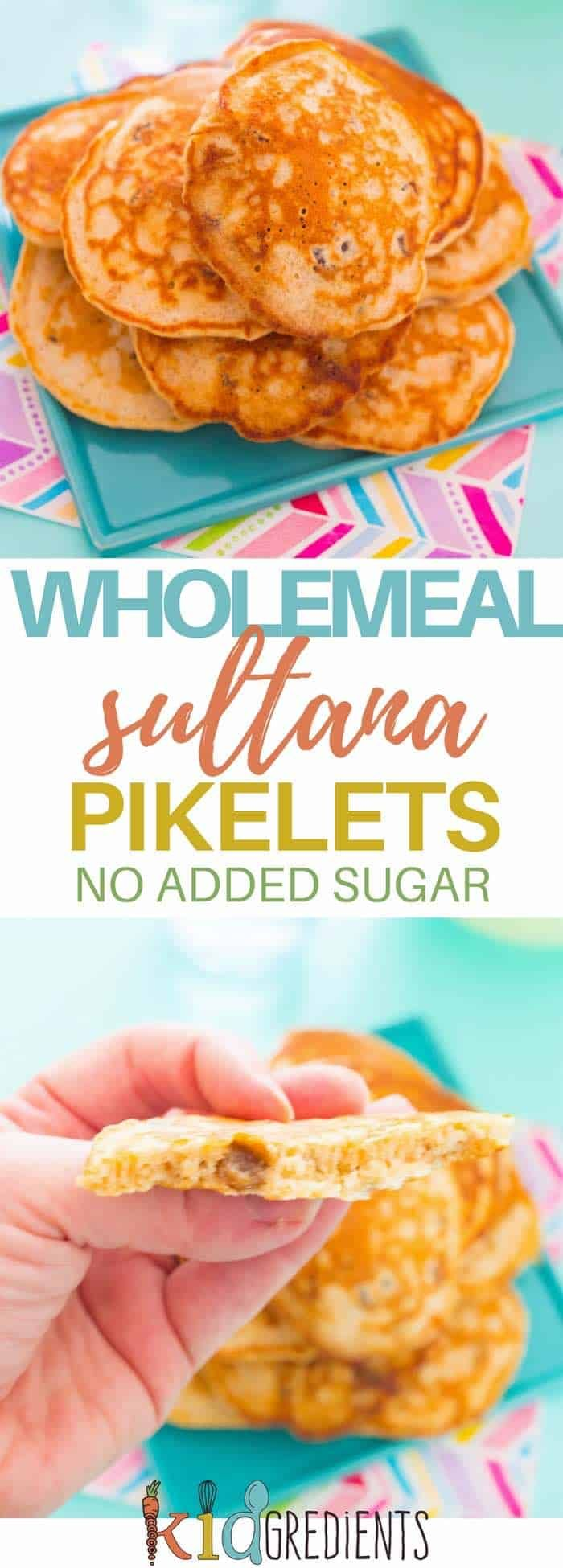 Wholemeal sultana pikelets, no added sugar, perfect for a snack, lunchbox or breakfast. Delicious recipe with the goodness of wholemeal flour and no added sugar! #kidsfood #pancakes #pikelets #healthykids #recipe #breakfast #snacks #nobake