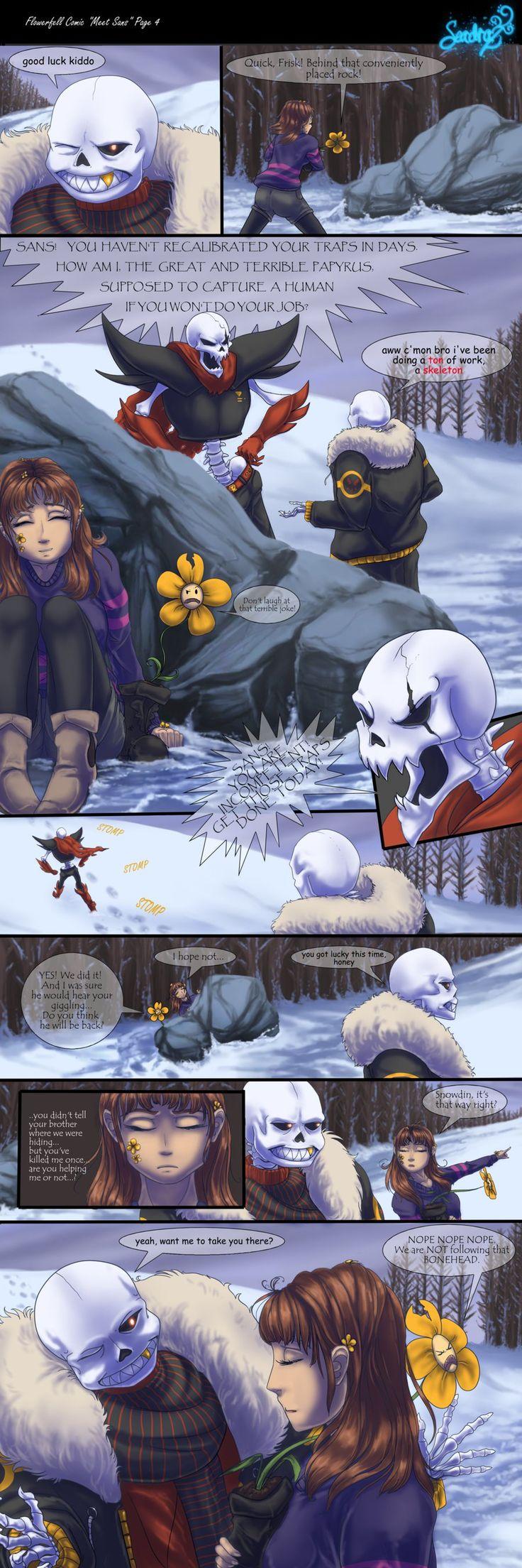 Flowerfell Comic = Meet Sans = Page 4 by Seadraz