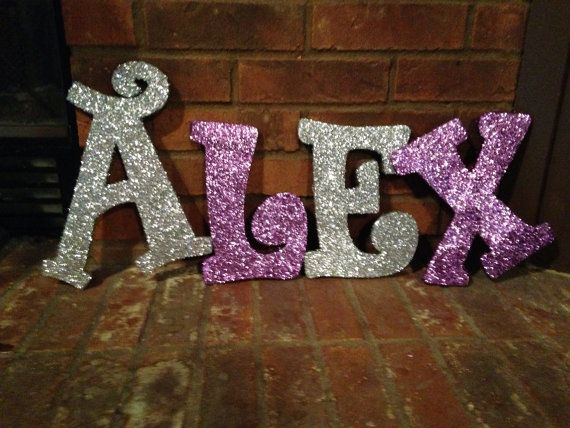 full name in glitter wooden letters custom made With glitter name letters