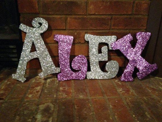 Full Name In Glitter Wooden Letters Custom Made