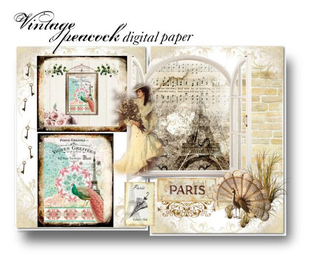 digital papers Instant download by dragonflyadele on Polyvore featuring arte and vintage