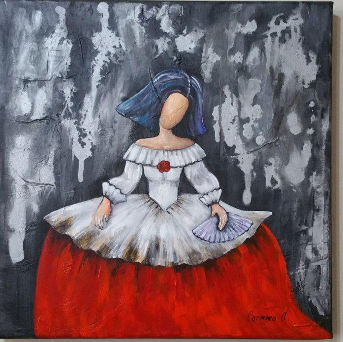 Menina pintada con pinturas acrilicas, 40×40 cm, de Carminaalcalaart en Etsy en venta.