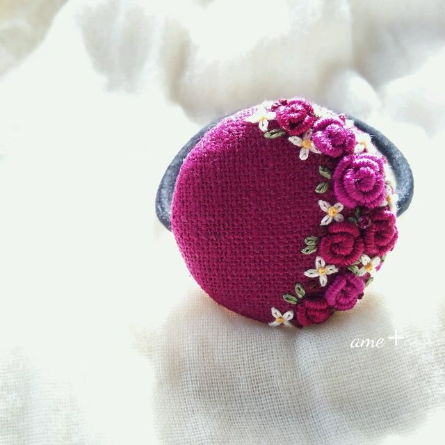 papa meilland 刺繍ヘアゴム ブローチへ変更可能
