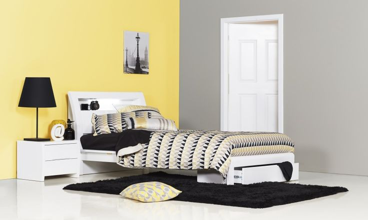 Benton White King Single High Gloss Bed The Benton White features clever storage solutions and overhead lighting
