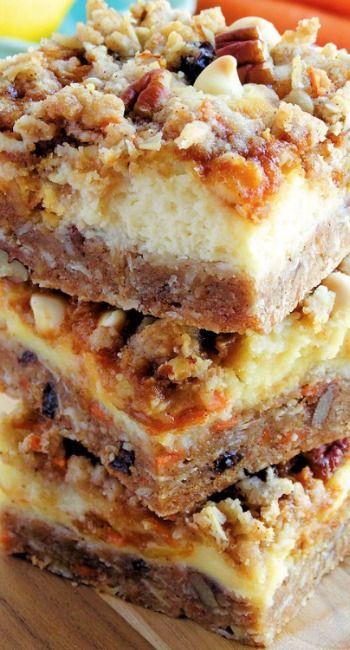 Carrot Cake Cheesecake Crumble Bars