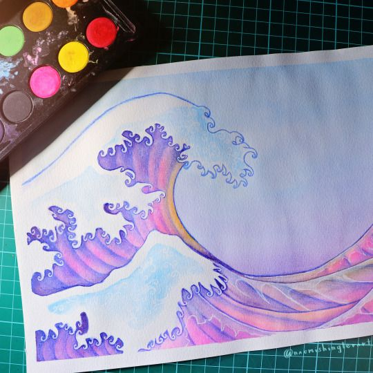 ≫∙∙∙ THE GREAT WAVE ∙∙∙≪ Inspired by Hukosai's original work, I decide to play around with sunset tones 🌊