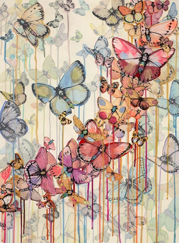 butterflies - Cities-of-Dust-2012-Oil-Vellum-ink-and-Acrylic-on-Paper-56-cm-x-76-cm