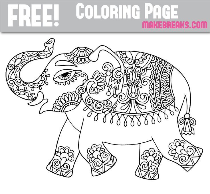 Free Patterned Elephant Coloring Page Elephant Coloring Page
