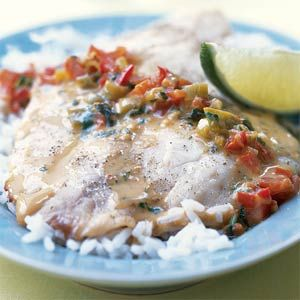 Broiled Tilapia with Thai Coconut-Curry Sauce | MyRecipes.com // Unbelievably good! So easy too. Have all the ingredients prepped because it comes together in a snap! On permanent rotation here now.