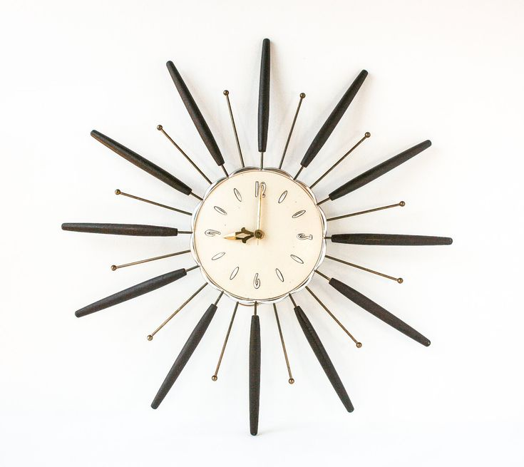 Vintage Starburst Wall Clock Retro Mid Century Modern / Atomic Decor.