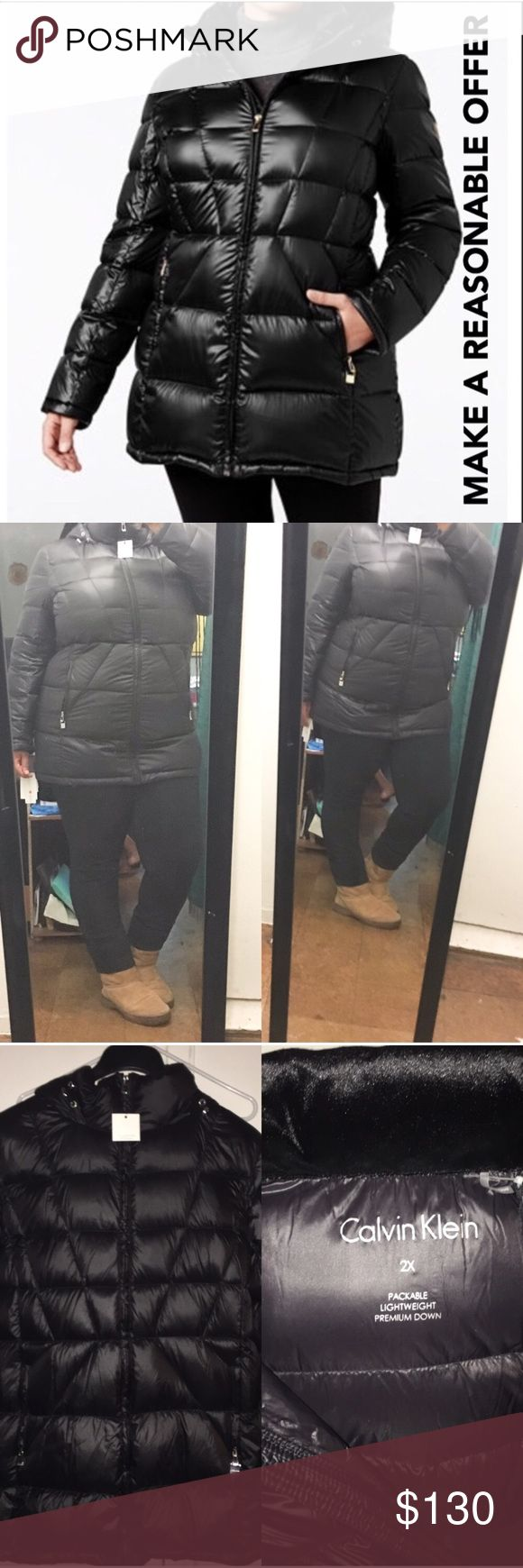 """Calvin Allen Plus Size Down Coat ✅ACCEPTING REASONABLE OFFERSNO TRADES. Retails $240. STATS: """"33 Long, Polyester & spandex body, velvet hood lining. Lightweight as well as washable. This coat is ah may zin. True to size and super stylish. FOR REFERENCE : I'm 5'4 & a 42H Bra size. Questions welcomed Calvin Klein Jackets & Coats Puffers"""