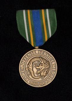 The Korea Defense Service Medal is authorized for those members of the United States Armed Forces who have served duty in South Korea after the signing of the Korean Armistice Agreement in support of the defense of the South Korean state. I was awarded this metal for my service 1968 -1969.