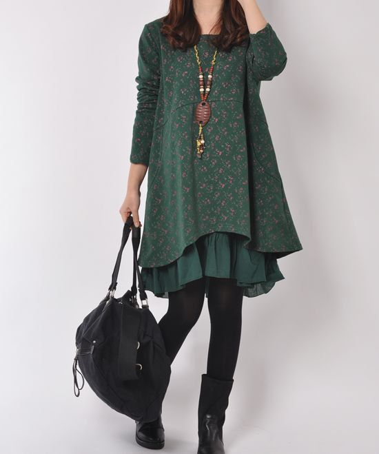 Dark Green cotton dress long sleeve dress by originalstyleshop, $59.90