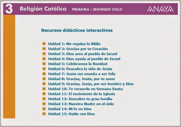 Recursos Didácticos Interactivos de la Editorial Anaya correspondientes a 3º Nivel de Educación Primaria, área de Religión Católica. Actividades complementarias en relación con los aprendizajes básicos  del área.
