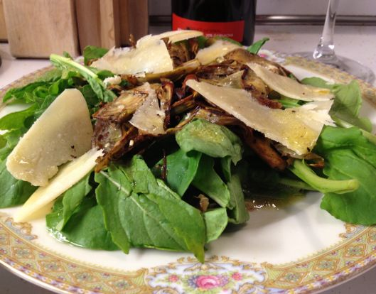 Sauteed Baby Artichoke and Arugula Salad with Parmigiano. A light and ...